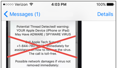 iphone text virus a on your iphone or a tech support scam big idea 3523